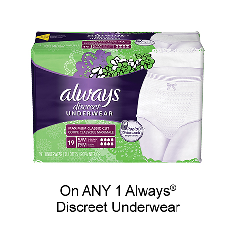 Get This New Always Discreet Printable Coupon To Save $3 By pgEveryDay