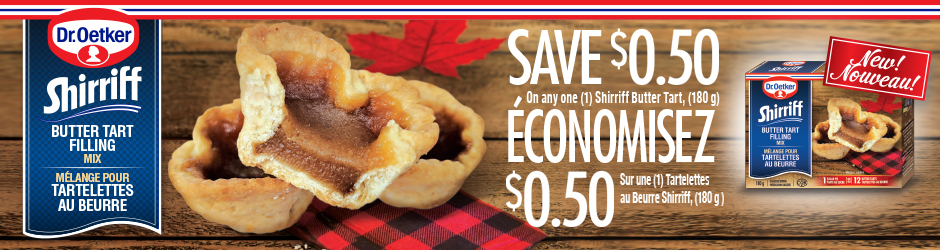 Get Shirriff Butter Tart Filling Mix Voucher –  $0.50 Off Any Shirriff Butter Tart Filling Mix Product