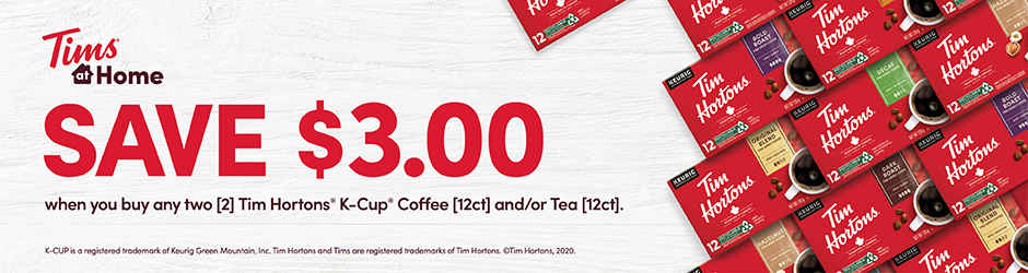 Tim Hortons K-cup Coffee And/or Tea Coupon –  $3 Off Any Tim Hortons K-cup Coffee And/or Tea Product